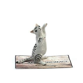 Hecho A Mano Del Gato Animal Porcelana Figura De Cerámica F