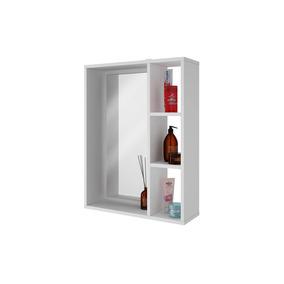 Espelho Para Banheiro Com Prateleiras Em Mdf Branco