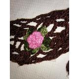 Bufanda Marron Tejida Al Crochet Con Flores