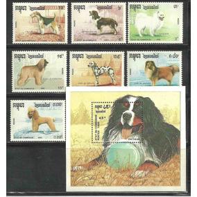 1990 Cambogia Perros Set 7 Sellos Y Hoja Souvenir Mnh