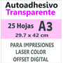Sticker Autoadhesivo Transparente Impresora Laser A3 X 25