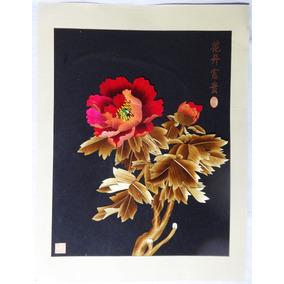 Gravura Quadro Flores Feito A Mão Famoso Artista Chinês