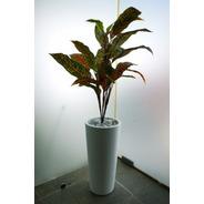 Set Planta Artificial Con Maceta Minimalista De Plástico