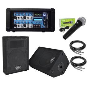 Amplificador 4 Canales 2 Bafles Peavey Micrófono Shure Cable
