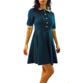 Vestido Modelo Merlyna Verde Y Beige