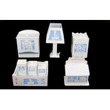 Kit Bebê Higiene Mdf Branco Safari - 3d Em Tecido +brinde