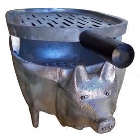 Churrasqueira Portatil Porquinho Toda Em Aluminio Fundido