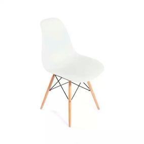 Silla Réplica Eames Blanca Y Madera