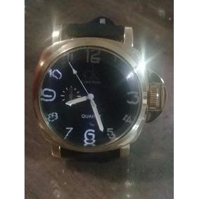 Relógio C K Scuba Preto Boss Série Ouro Pulseira Couro Preta