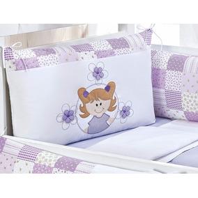 Kit Protetor De Berço Menina Lilás Boneca Florzinhas 9pçs