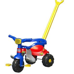 Triciclo Infantil Tico Velotrol Haste Azul Ou Rosa Magic Toy