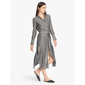 Vestido Maxi Shirtdress Con Lazo Halston Heritage Talla 2 (s