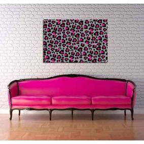 Cuadro Animal Print Leopardo Pink Moderno Rosa 40x60cm Envio