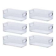 6 Caixas Com Alça Transparente 23x11x8cm 1074