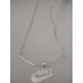 Corrente De Prata 925 Escama De Peixe Com Pingente Da Nike
