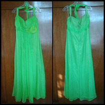 Vestido De Fiesta Noche Largo Color Verde Manzana Eva Brazzi