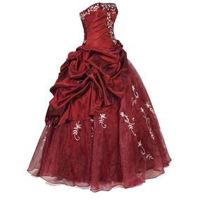 Vestido Debutante Festa 15 Anos 366 Azul Luxuoso Vermelho