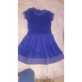 Vestido, Azul Marino Talla 12 Con Puntos Blancos
