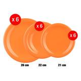 Set 18 Platos Cerámica Naranja 6c/u