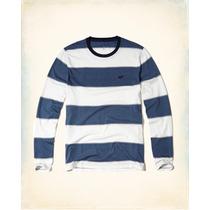 Hollister Camiseta Cuello Reondo Rayas Tallal S Originales