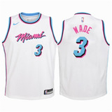 Nba Miami Heat Branca Dwayne Wade 3 Oficial/original