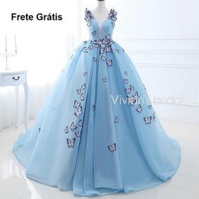 Vestido De Noivas 157250 Longo Debutante Princesa Azul Luxo