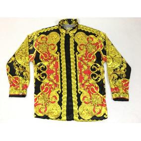 Camisa De Seda Versace, Verace Para Hombre Talla M-l Vintage