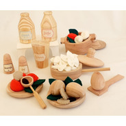 Set Cocina Artesanal Niños - Ollita Cucharon Platos Comidita