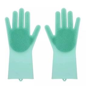 Luva Lava Loucas Verde Escova Silicone Caes Banho Limpeza