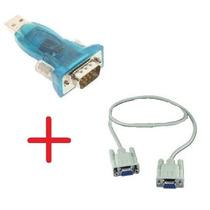 Adaptador Serial Usb + Cabo Null Modem Db9 Femea Com Rs232