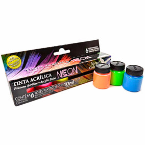 Kit Tinta Acrílica Neon Nature Colors Acrilex 10ml C/ 6