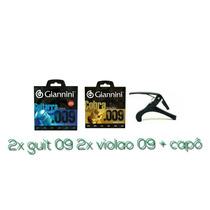 Kit 2 Encord Guit 09 + 2 Violao 09 + Capo