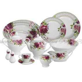 Jogo De Jantar E Café Porcelana Nobre C Florais Design Grego