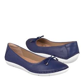 Flats Casuales Flexi Para Mujer Piel Azul 29103