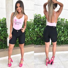Bermuda Shorts Jeans Feminina Cintura Alta Estilo Pit Bull
