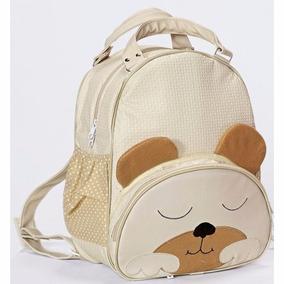Mochila Infantil Urso Palha G Bolsa Bebe Bichinho Com Nome