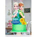 Topper Anna Y Elsa Frozen Para Tu Fiesta Torta