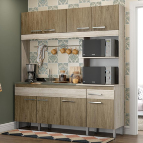 Cozinha Compacta Decibal Tulipa 8 Portas - Malbec/wood