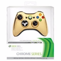 Controle Xbox 360 Sem Fio Wireless Chrome Series Dourado