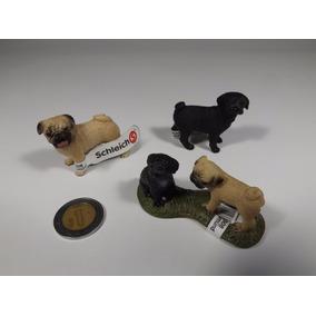 Lote 3 Figuras Schleich Familia Perros Cachorros Pug