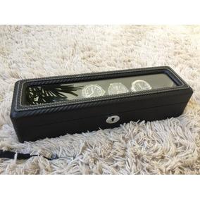 Estojo Caixa Box Para Relógios Fibra De Carbono Com 6 Lugare