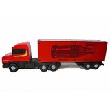 Mini Carreta Scania Caminhão Baú De Madeira Brinquedo