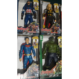 Combo Avengers 30cm Con Luz Y Sonido Hulk Thor Superman Cap