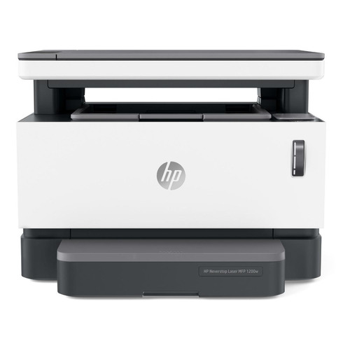 Impressora multifuncional HP Neverstop 1200W com wifi 110V branca e cinza