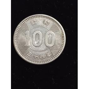 Japon 100 Yens Fecha 1959 Plata Ley 0.600 4.8g 22mm