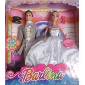 Boneca Barlina Noiva Casamento Barbbie + Noivo Vestido Lindo