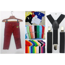 Kit Calça Colorida Infantil + Camisa Polo + Suspensório