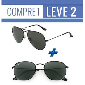 Oculos Ray Ban Aviador + Rb Round Redondo   Compre 1 Leve 2 7c2e94c8fa