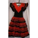 Vestido Español Flamenco Niña. Volados Negros
