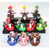 Set 10 Figuras Coleccion Mario Bros, Yoshi, Luigui Carros